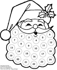 Free Printable Santa Countdown,This quick printable is the perfect little countdown for toddlers. Give them some stickers or a marker pen and allow them to check off each day. Preschool Christmas, Christmas Activities, Christmas Printables, Christmas Projects, Holiday Crafts, Holiday Fun, Santa Crafts, Christmas Crafts For Kids To Make At School, Christmas Templates