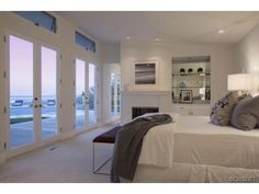 master suite with open floor plan + views from bed and bath