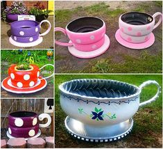 Creative DIY Garden Containers and Planters from Recycled Materials --> Turn Old Tires into Cute Shaped Planters Tyres Recycle, Diy Recycle, Diy Art Projects, Garden Projects, Garden Ideas, Project Ideas, Tire Craft, Tire Garden, Pallets Garden