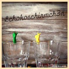 Aktuell | Schokoschirmch3n Nie mehr das eigene Glas verwechseln. Mit den lustigen/bunten Fimo Schnecken. Einfach ans Glas gesteckt und niemand trinkt aus deinem Glas.