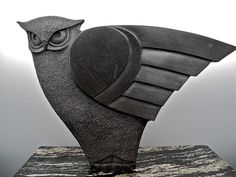 Hand carved Owl ~Sculpture~ out of black soapstone by TH McDermott. ~Art-Sculpture~