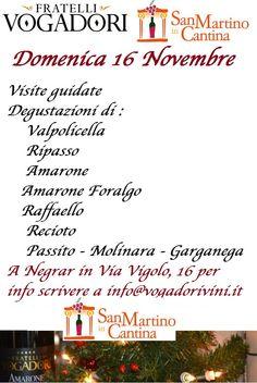 Vi Aspettiamo Domenica 16 Novembre per San Martino in Cantina a Negrar!  http://www.amaronevalpolicella.org/it/eventi/san-martino-in-cantina