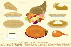 Check out Harvest Table Clip Art w/Vectors by candyboxdigital on Creative Market. Pumpkin pie, apple pie, pie, turkey, turkey leg, cornucopia, gravy, Thanksgiving