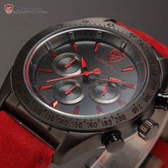 Tiger Shark Chronograph Tachymeter Bezel Relogio Black Red Leather Strap Male Clock Sport Military Quartz Men Wristwatch /SH238