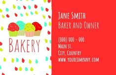 Cupcakes Cute Illustration in multi-coloured with a homely feel and welcome touch to the bakery business card Bakery Business Cards, Cute Illustration, Cupcakes, Touch, Feelings, Color, Cupcake, Cupcake Cakes, Colour