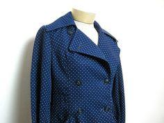 vintage navy blue polka dotted spring par dirtybirdiesvintage, $40.00