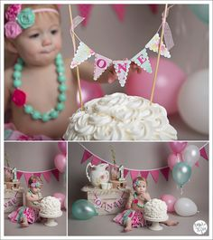 Cake Smash Inspiration One year girl cake smash photography Pink, mint, and gray colors
