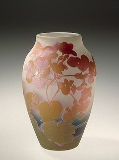 ❤ - Émile Gallé | Vase Decorated with Begonias Manufactory of Emile Galle…