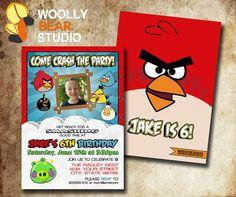 DIY Printable Angry Birds Photo Invitation by WoollyBearStudio, $13.50
