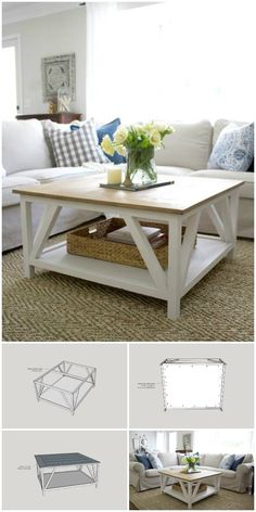 DIY farmhouse coffee table ideas from cute cubes to industrial wooden spools. Se… DIY farmhouse coffee table ideas from cute cubes to industrial wooden spools. See the best designs and discover your favorites! Diy Coffee Table, Decorating Coffee Tables, Coffee Table Design, Square Coffee Tables, Woodworking Furniture, Diy Furniture, Business Furniture, Outdoor Furniture, Camping Furniture