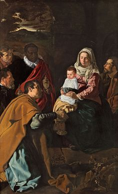 Diego Velázquez (Spanish [Baroque, Portrait] Adoration of the Kings, Museo del Prado, Madrid.saw this breathtaking painting when I visited Prado Museum 💗 Spanish Painters, Spanish Artists, Caravaggio, Diego Velazquez, Picture Frame Art, Jesus Christus, Baroque Art, Baroque Painting, Sacred Art