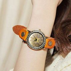 Faux-Leather Strap Watch Camel - One Size