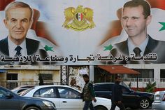 A billboard sponsored by the chamber of commerce and industry shows pictures of Syrian President Bashar al-Assad (R) and his late father former president Hafez al-Assad in the coastal city of Latakia March - Alawite statement Hafez Al Assad, Image Caption, Chamber Of Commerce, Former President, Bbc News, Syria, Presidents, Challenges, Outlines