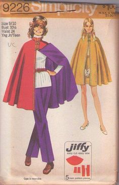 MOMSPatterns Vintage Sewing Patterns - Simplicity 9226 Vintage 70's Sewing Pattern UBER SUPER COOL Mod Jiffy Space Age Reversible Poncho Cape, Nehru Collar Frog Toggle Cloak Size 9/10