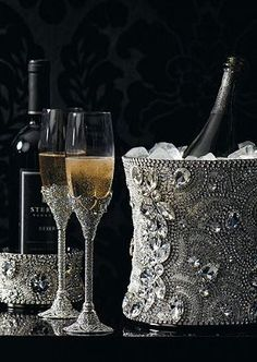 Swarovski crystal champagne bucket, wine glasses and bottle holder! www.kerlagons.com