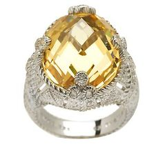 Judith Ripka Sterling 20.0ct Yellow Diamonique Cocktail Ring - QVC.com