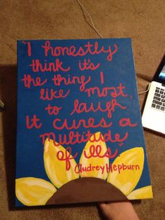 Audrey Hepburn Canvas Quote laughing by SpencerHailey on Etsy, $60.00