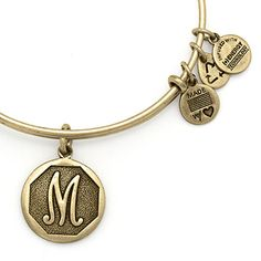 #9 Alex and Ani Initial II Expandable Wire Bangle M - Russian Gold