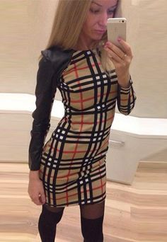 This dress features grid pattern,with PU leather spliced long sleeve,fashion and sexy. Round neck,slim fit and package hip design,perfect show your seductive curve.