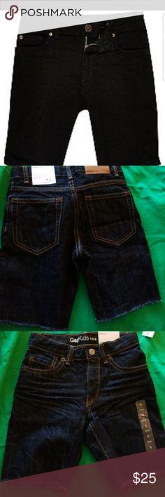 NEW. GAP boys dark denim shorts distressed New w tags. Big boys size 6 jean shorts. Really nice! Dark denim. New never worn. Distressed bottoms. GAP Bottoms Jeans