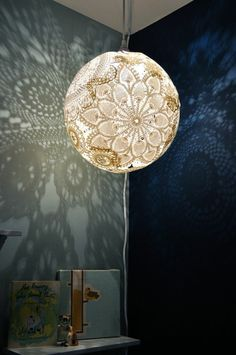 DIY Doily Lamp Would Be Sweet In Chloes Room If I Ever Get - Diy cloud like yarn lampshade