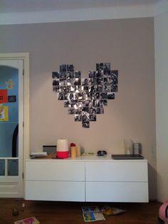 Foto hart, gewoon met plakband op de muur geplakt! Foto's zijn 10 x 10 cm.