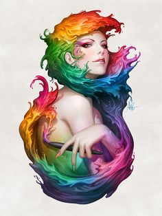 """Angel of Colors"" - A Giclée Print by Stanley Artgerm Lau  #inprnt #print #art #Illustration $20.00"