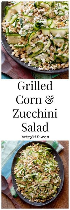 Grilled Corn and Zucchini Salad. A healthy recipe that is perfect for summer!