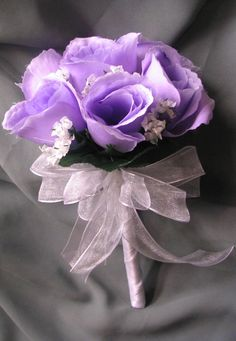 Small 7 Artificial Lavender Rose Toss/Nosegay Clutch Bouquet NEW. $10.00, via Etsy.