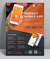 Mobile App Flyer Template, perfectly suitable for promote your mobile application or any other app. Very clean modern app flyer template that will make your application shine!   	These templat...