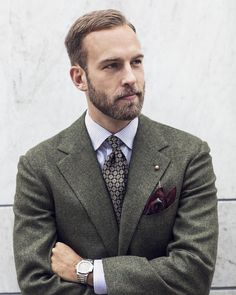 """manolosweden: Another shot for The Rake Japan """"The 10 Most Rakish Men""""… Bespoke Jacket in vintage tweed by @sartoria.corcos, bengal stripe shirt from @etonshirts, tie from @shibumiberlin and pocket square from @drakesdiary. Photo Credit: Andreas Johansson #menswear #style #inspiration #therake #therakejapan #wiwt #bespoke #tweed #vintage #green #sartoriacorcos #shirt #eton #tie #shibumi #pocketsquare #drakes #lapelchain #thearmoury #watch #patekphilippe #patek #nautilus #5711 #manoloswe..."""