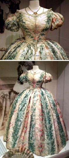Ballgown, 1860. From an exhibit at the Museum of Costume & Lace, Brussels. Cristoph Houbrechts Vanhoorne Facebook and Dansant.og