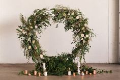 round wedding arch with flowers