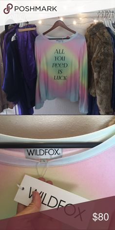 WILDFOX SZ L ALL YOU NEED IS LUCK SWEATER TYE DYE New with tags Wildfox Sweaters
