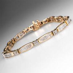 Princess & Round Diamond Tennis Bracelet 14K Yellow Gold