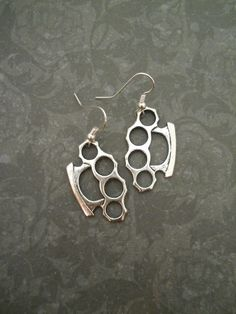 Silver Brass Knuckles Earrings