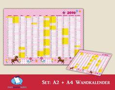 """Wandkalender-Set für Schüler in A2 + A4, Motiv: """"Pferd-rosa"""" - passend zum Motiv gibt es auch Stundenpläne u. Lernposter (Das kleine 1x1, und ABC) • www.meinposterladen.de"""