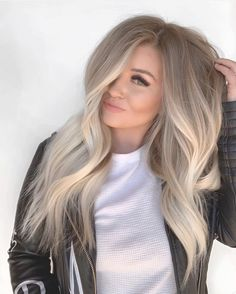 Ombre Hair Color, Hair Color Balayage, Purple Hair, Hair Highlights, Yellow Hair, Brown Highlights, Ash Blonde Hair Balayage, Ashy Blonde, Warm Blonde