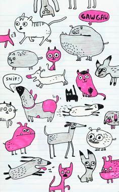 Dogs and cats Elise Gravel, Dog Illustration, Cute Doodles, Kids Prints, Doodle Art, Cat Art, Coloring Books, Book Art, Stencils