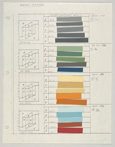 Untitled (for Never Before, a,b,g,e) Josef Albers  (American (born Germany), Bottrop 1888–1976 New Haven, Connecticut) Date: ca. 1976 Medium: Graphite, ink and paint swatch