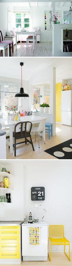 Scandinavian style.  Joyful yellow hue!