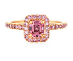 De Beers Aura Pink Diamond Emerald Cut ring, set in pink gold. From The Jewellery Editor