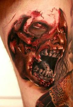 Zombie Cool Tattoos For Guys, Cool Tats, Love Tattoos, Tatoos, Zombies Run, Zombie Tattoos, Apocalypse Art, Dead Inside, Guys And Girls