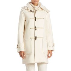 Polo Ralph Lauren Hooded Wool-Blend Toggle Coat ($440) ❤ liked on Polyvore featuring outerwear, coats, apparel & accessories, winter cream, wool blend coat, toggle button coat, polo ralph lauren coats, long sleeve coat and toggle coat