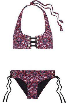 Tart Collections Woman Mckinley Lace-up Printed Halterneck Bikini Multicolor Nylons, Halterneck Bikini, Tart Collections, Bikinis For Sale, Fuchsia, Fashion Outlet, Beachwear, Swimwear, Bikini Set