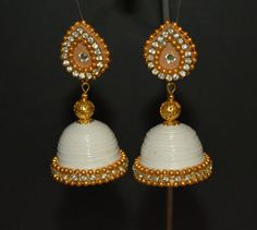White and Gold Quilled Jhumkas by MadeToMacth on Etsy