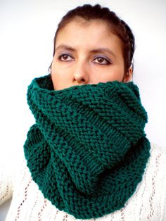 """Fairy  Green Oblique  Fashion   Cowl Super Soft Wool by GiuliaKnit, $55.00 This lovely item has been selected to be part of the """"LOVE ATTACK DAY"""" promoted by EtsyITALIAteam"""