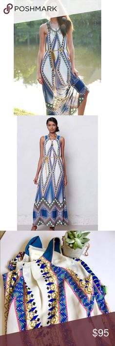Anthropologie Maeve Pakpao Maxi Dress Beautiful Multi Color Tribal print maxi dress from the bran Maeve. In excellent condition! Comes with the string belt. Perfect dressed up to s summer event or causal with some sandals for dinner. Anthropologie Dresses Maxi