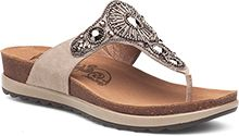 Introducing Pamela - a low-profile thong sandal with bling. A sidewalk friendly design brings comfort during the day, while ornamental embellishments add style for an evening out.