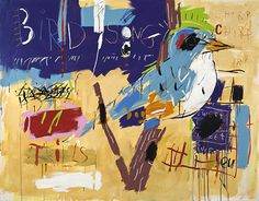 "James McelHeron in Santa Cruz CA ""Bird Song"" 60x72 acrylic on canvas. I think it is really cool that James creates while listening to rock and roll."